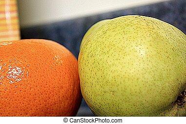 saftig, apelsin, och, pear.