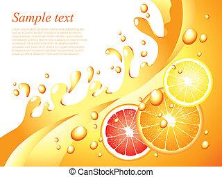 saftig, citronträd, stänk, vektor, bakgrund
