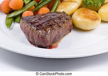 saftig, steak, mittel