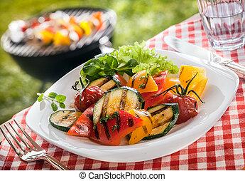 saftige, betjener, vegetarianer, grønsager, ristede, frisk