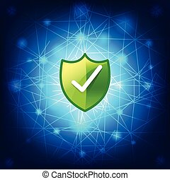 Safty shield securty network connection on blue background...