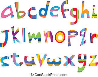 sag, morskab, hale ned, alfabet