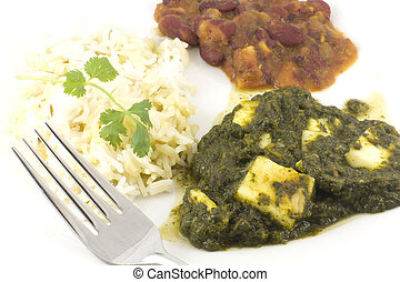 Sag Paneer - authentic Indian food with basmati rice and...