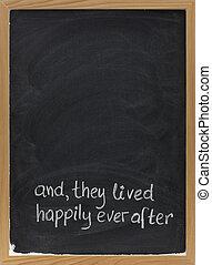 saga, blackboard, avsluta, uttryck, lycklig