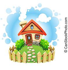 saga, hus, på, gräsmatta, med, staket