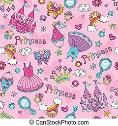 saga, seamless, mönster, prinsessa