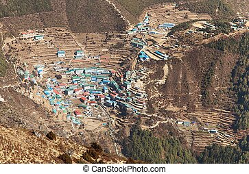 sagarmatha, parco, nazionale, -, bazar, namche, khumbu, valle