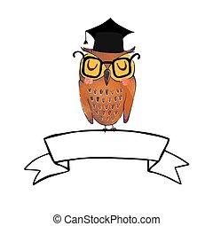 sage, bannière, hibou, diplômé, ruban, casquette