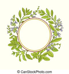 sage branch vector frame on white background