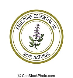 sage, essential oil label, aromatic plant