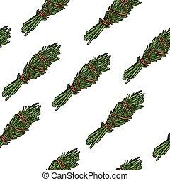 Sage smudge sticks hand-drawn boho seamless pattern. Rosemary herb bundle texture background