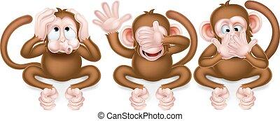sage, trois, singes