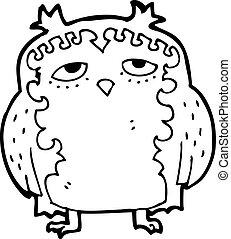 sage, vieux, dessin animé, hibou