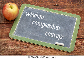 sagesse, compassion, courage