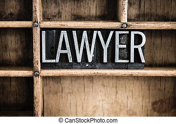 sagfører, begreb, metal, letterpress, glose, ind, skuffe