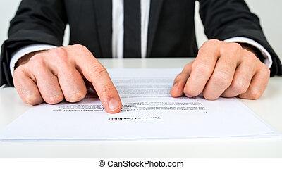 sagfører, forklar, betalingsvilkår, og, betingelserne