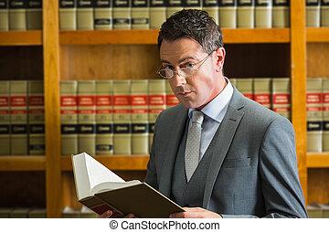 sagfører, læsning bog, ind, den, lov bibliotek