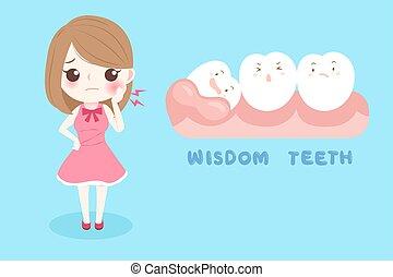 saggezza, donna, denti