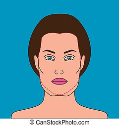 Sagging cheeks - Female face with sagging cheeks and...