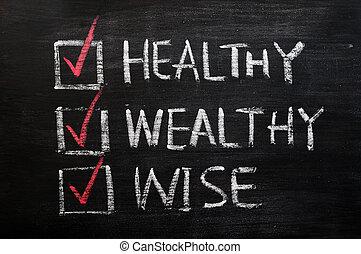 saggio, essendo, sano, gesso, scritto, ricco, lavagna