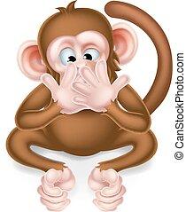 saggio, scimmia, no, male, cartone animato, parlare