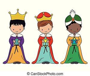 saggio, tre uomini, bambini, vestito