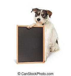 Saggy Terrier Dog Holding Blank Chalkboard Sign