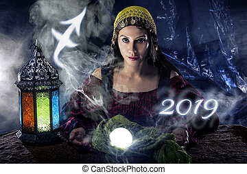 Sagitarius Horoscope Zodiac Sign with Psychic or Fortune...