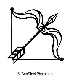sagittario, segnale oroscopo, simbolo., nero, zodiaco