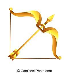 sagittario, segno, simbolo., oroscopo, zodiaco, dorato