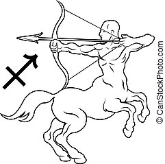 sagittarius, 黄道帯, 星占い, 占星術の 印