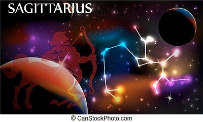 Sagittarius Astrological Sign and copy space - Sagittarius -...
