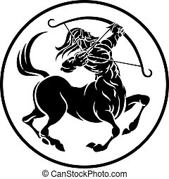 Sagittarius Centaur Zodiac Horoscope Sign - Circle...