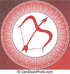sagittarius - Element fire: sagittarius zodiac sign on a...