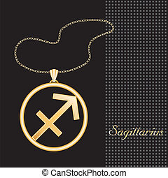 Sagittarius Gold Necklace - Gold embossed horoscope symbol,...