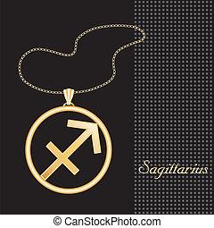 Sagittarius Gold Necklace - Gold embossed horoscope symbol,...