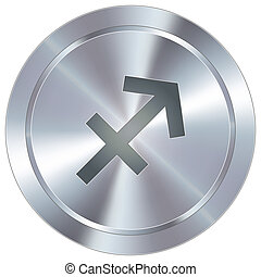 Sagittarius icon industrial button