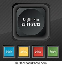 Sagittarius icon symbol. Set of five colorful, stylish buttons on black texture for your design. Vector