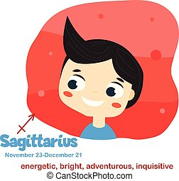 Sagittarius. Kids zodiac. Children horoscope sign. Astrological symbols with cute baby face in cartoon style