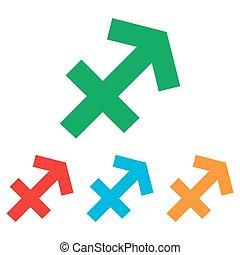 Sagittarius sign. Colorfull set
