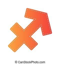 Sagittarius sign illustration. Orange applique isolated.