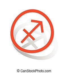 Sagittarius sign sticker, orange