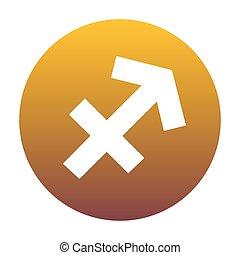 sagittarius, sinal, illustration., branca, ícone, em, círculo, com, dourado