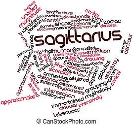 Sagittarius - Abstract word cloud for Sagittarius with...