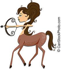 Sagittarius: Zodiac Girl Series with Clipping Path