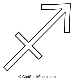 Sagittarius symbol zodiac icon black color illustration flat style simple image