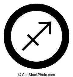 Sagittarius symbol zodiac icon black color in round circle