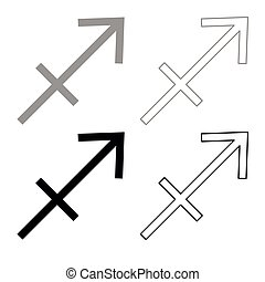 Sagittarius symbol zodiac icon outline set grey black color