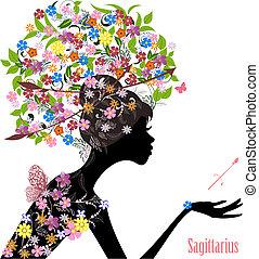 sagittarius., zodíaco, moda, niña, señal