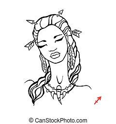 Sagittarius. Zodiac Beautiful fashion girl.